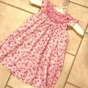 Luli & Me Butterfly print Bishop dress size 12mo